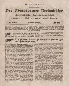 Der Königsberger Freimüthige, Nr. 153 Sonnabend, 23 Dezember 1848
