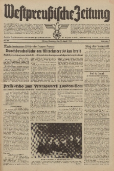 Westpreussische Zeitung, Nr. 90 Dienstag 19 April 1938, 7. Jahrgang