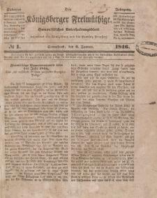 Der Königsberger Freimüthige, Nr. 1 Sonnabend, 3 Januar 1846