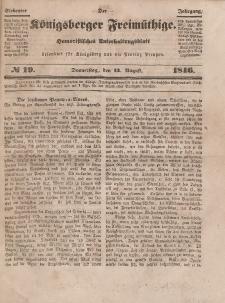 Der Königsberger Freimüthige, Nr. 19 Donnerstag, 13 August 1846