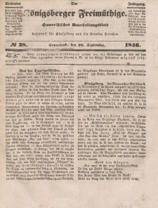 Der Königsberger Freimüthige, Nr. 38 Sonnabend, 26 September 1846