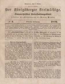 Der Königsberger Freimüthige, Nr. 2 Sonnabend, 3 Oktober 1846