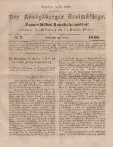 Der Königsberger Freimüthige, Nr. 7 Donnerstag, 15 Oktober 1846