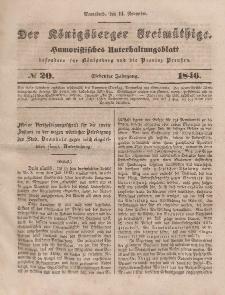 Der Königsberger Freimüthige, Nr. 20 Sonnabend, 14 November 1846