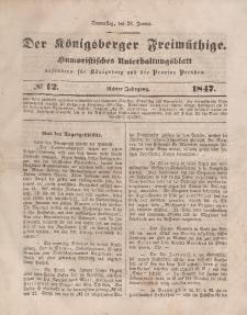 Der Königsberger Freimüthige, Nr. 12 Donnerstag, 28 Januar 1847