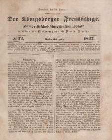 Der Königsberger Freimüthige, Nr. 13 Sonnabend, 30 Januar 1847