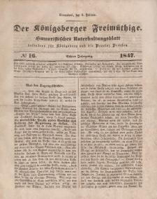 Der Königsberger Freimüthige, Nr. 16 Sonnabend, 6 Februar 1847