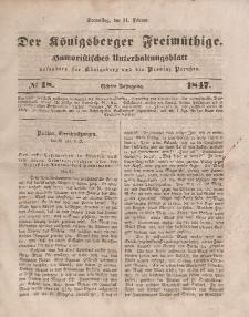 Der Königsberger Freimüthige, Nr. 18 Donnerstag, 11 Februar 1847