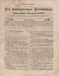 Der Königsberger Freimüthige, Nr. 20 Dienstag, 16 Februar 1847