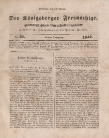 Der Königsberger Freimüthige, Nr. 21 Donnerstag, 18 Februar 1847