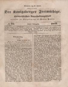 Der Königsberger Freimüthige, Nr. 25 Sonnabend, 27 Februar 1847