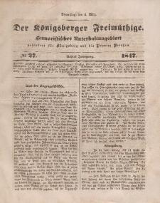 Der Königsberger Freimüthige, Nr. 27 Donnerstag, 4 März 1847