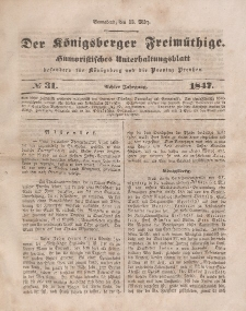 Der Königsberger Freimüthige, Nr. 31 Sonnabend, 13 März 1847