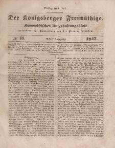 Der Königsberger Freimüthige, Nr. 41 Dienstag, 6 April 1847