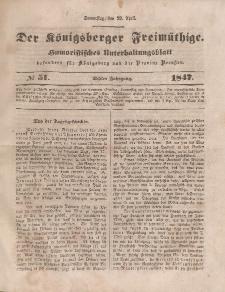 Der Königsberger Freimüthige, Nr. 51 Donnerstag, 29 April 1847