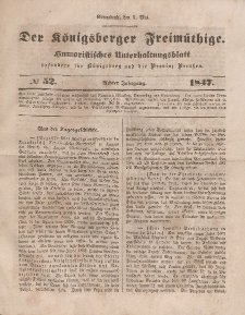 Der Königsberger Freimüthige, Nr. 52 Sonnabend, 1 Mai 1847
