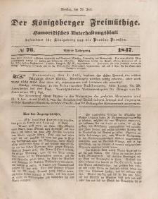 Der Königsberger Freimüthige, Nr. 76 Dienstag, 29 Juni 1847