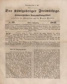 Der Königsberger Freimüthige, Nr. 77 Donnerstag, 1 Juli 1847