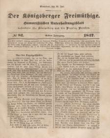Der Königsberger Freimüthige, Nr. 81 Sonnabend, 10 Juli 1847