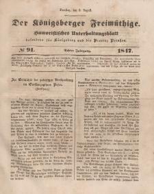 Der Königsberger Freimüthige, Nr. 91 Dienstag, 3 August 1847