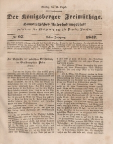 Der Königsberger Freimüthige, Nr. 97 Dienstag, 17 August 1847