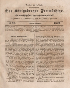 Der Königsberger Freimüthige, Nr. 99 Sonnabend, 21 August 1847