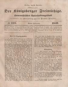 Der Königsberger Freimüthige, Nr. 109 Dienstag, 14 September 1847