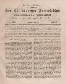Der Königsberger Freimüthige, Nr. 113 Donnerstag, 23 September 1847
