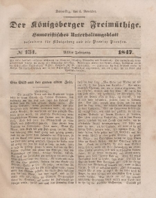 Der Königsberger Freimüthige, Nr. 131 Donnerstag, 4 November 1847