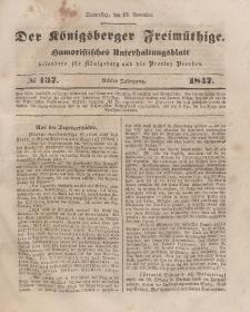 Der Königsberger Freimüthige, Nr. 137 Donnerstag, 18 November 1847