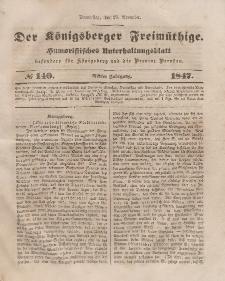 Der Königsberger Freimüthige, Nr. 140 Donnerstag, 25 November 1847