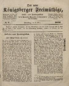 Der neue Königsberger Freimüthige, Nr. 2 Dienstag, 2 März 1852