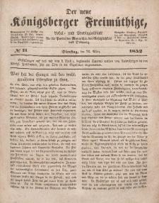 Der neue Königsberger Freimüthige, Nr. 11 Dienstag, 23 März 1852
