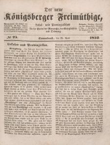Der neue Königsberger Freimüthige, Nr. 25 Sonnabend, 24 April 1852