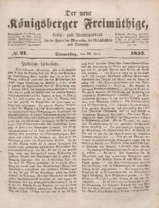 Der neue Königsberger Freimüthige, Nr. 27 Donnerstag, 29 April 1852