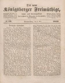 Der neue Königsberger Freimüthige, Nr. 30 Donnerstag, 6 Mai 1852