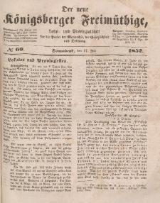 Der neue Königsberger Freimüthige, Nr. 60 Sonnabend, 17 Juli 1852