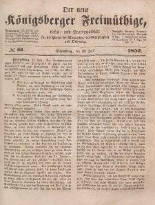 Der neue Königsberger Freimüthige, Nr. 61 Dienstag, 20 Juli 1852