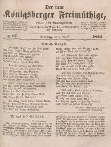 Der neue Königsberger Freimüthige, Nr. 67 Dienstag, 3 August 1852