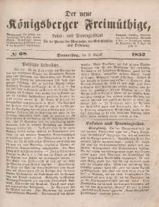 Der neue Königsberger Freimüthige, Nr. 68 Donnerstag, 5 August 1852