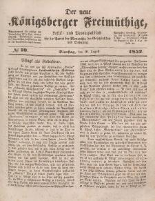 Der neue Königsberger Freimüthige, Nr. 70 Dienstag, 10 August 1852