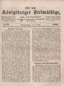 Der neue Königsberger Freimüthige, Nr. 71 Donnerstag, 12 August 1852