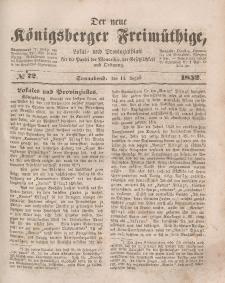 Der neue Königsberger Freimüthige, Nr. 72 Sonnabend, 14 August 1852