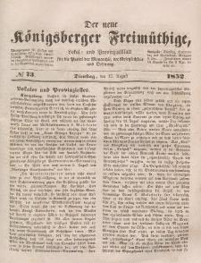 Der neue Königsberger Freimüthige, Nr. 73 Dienstag, 17 August 1852