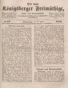 Der neue Königsberger Freimüthige, Nr. 74 Donnerstag, 19 August 1852