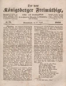 Der neue Königsberger Freimüthige, Nr. 75 Sonnabend, 21 August 1852