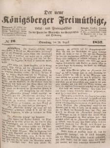 Der neue Königsberger Freimüthige, Nr. 76 Dienstag, 24 August 1852