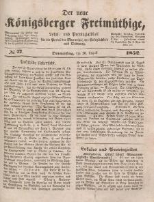 Der neue Königsberger Freimüthige, Nr. 77 Donnerstag, 26 August 1852