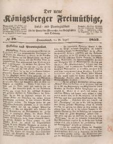Der neue Königsberger Freimüthige, Nr. 78 Sonnabend, 28 August 1852
