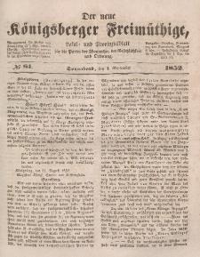 Der neue Königsberger Freimüthige, Nr. 81 Sonnabend, 4 September 1852